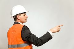 Construction worker pointing Royalty Free Stock Image