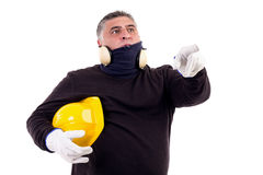 Construction worker pointing ahead Stock Images