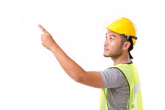 Construction worker pointing up Stock Photos