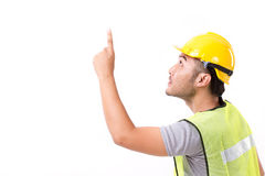 Construction worker pointing up Stock Images