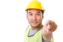 Construction worker pointing Royalty Free Stock Images