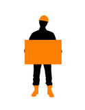 Construction Worker With Poster Royalty Free Stock Photography