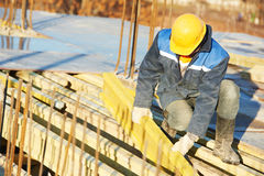 Construction worker preparing formwork Royalty Free Stock Images
