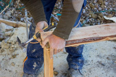 Construction worker preparing wooden formwork 3 Royalty Free Stock Photos