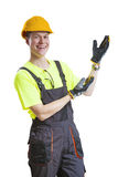 Construction worker presenting Royalty Free Stock Photo