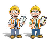 Construction Worker - Project Manager. Cartoon illustration of a construction worker supervisor checking a project list.  Two versions: 1) on with a pen on a Royalty Free Stock Photo