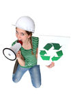Construction worker promoting recycling Royalty Free Stock Photo