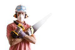 Construction worker in protective gear with saw and drill Stock Photo