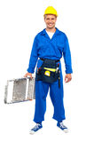 Construction worker ready with stepladder. Full length portrait of happy young construction worker ready for work holding a stepladder Stock Image