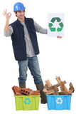 Construction worker recycling Royalty Free Stock Photos