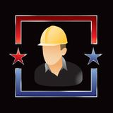 Construction worker in red and blue star outline Royalty Free Stock Images