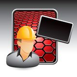 Construction worker on red hexagon banner Stock Images