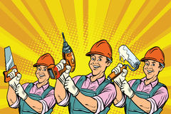 Construction worker with the repair tools. Comic book cartoon pop art retro colored drawing vintage illustration Stock Photography
