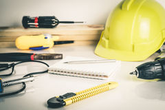 Construction worker repair tools Royalty Free Stock Image