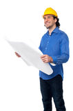 Construction worker reviewing blueprint Royalty Free Stock Photos