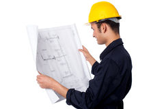 Construction worker reviewing plan Stock Images