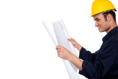 Construction worker reviewing plan Royalty Free Stock Photo
