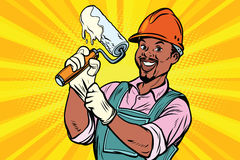Construction worker with roller for paint. Construction worker with the repair tool roller for paint. African American people. Comic book cartoon pop art retro Royalty Free Stock Photo