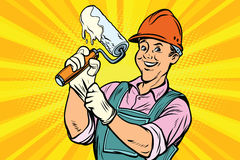 Construction worker with roller for paint. Construction worker with the repair tool roller for paint. Comic book cartoon pop art retro colored drawing vintage Stock Photos