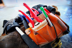 Tool belt. Construction worker's Construction worker's tool belt stock photo