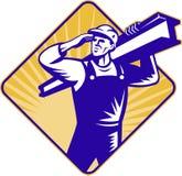 Construction worker salute carry i-beam Stock Photos