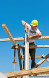 Construction worker on scaffold. Authentic construction worker on scaffold, hammering nails on the wooden formwork of a construction site Royalty Free Stock Photography