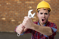 Worker screaming tools. Construction worker screaming tools, buider man stock images