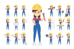 Construction worker set. Posing and doing work Stock Image