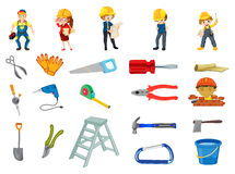 Construction worker set Stock Photo