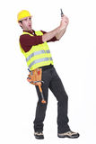 Construction worker shocked Royalty Free Stock Images