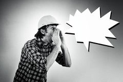 Construction worker shouting Royalty Free Stock Photos