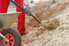 Construction worker with a shovel Stock Photography