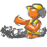 Construction worker shoveling. An illustrated view of an abstract orange man construction worker standing in a hole with a shovel over his shoulder Stock Image
