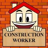 Construction Worker Shows Building Laborer 3d Illustration. Construction Worker Showing Building Laborer 3d Illustration Stock Photography