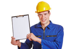 Construction worker showing Royalty Free Stock Photos