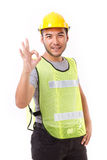 Construction worker showing ok hand sign gesture Royalty Free Stock Photos