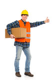 Construction worker showing thumb up. Royalty Free Stock Photo