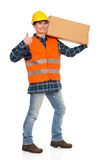 Construction worker showing thumb up. Royalty Free Stock Photography