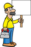 Construction worker with a sign. Cartoon illustration of a construction worker holding a sign Royalty Free Stock Image