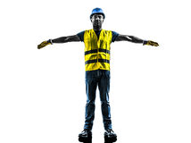 Construction worker signaling safety vest Stock Images