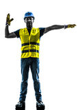 Construction worker signaling safety vest silhouette Stock Photos