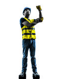 Construction worker signaling safety vest use whipline silhouett. One construction worker signaling with safety vest use whipline silhouette isolated in white Stock Photo