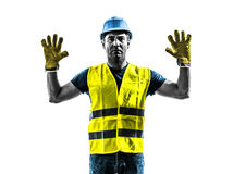 Construction worker signaling stop gesture silhouette Stock Images