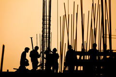 Construction worker silhouette Stock Images