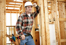 Construction Worker on Site. A construction worker with his tools on the jobsite.  Authentic construction worker on actual construction site Stock Photography
