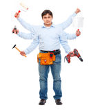 Construction worker with six hands. Do-all man concept Stock Photography