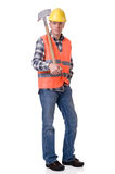 Construction worker with a spate Stock Photography