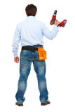 Construction worker standing  back to camera Royalty Free Stock Photo