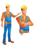 Construction worker standing presenting and bust with arms crossed Royalty Free Stock Image