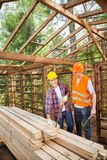 Construction Worker Standing In Wooden Cabin Royalty Free Stock Photo